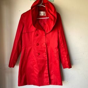 max mara red trench coat cotton button front